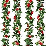 Kalolary 2 Pack Artificial Rose Flower Garland Fake Ivy Vine Plants, 15 FT Red Artificial Silk Rose Hanging Garlands, for Home Hotel Office Wedding Party Garden Craft Art Decor