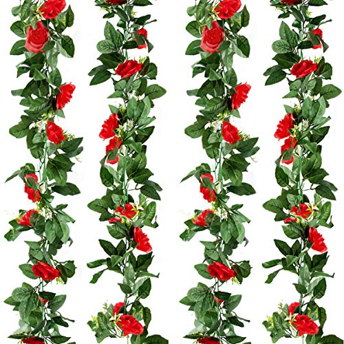 Kalolary 2 Pack Artificial Rose Flower Garland Fake Ivy Vine Plants, 15 FT Red Artificial Silk Rose Hanging Garlands, for Home Hotel Office Wedding Party Garden Craft Art Decor