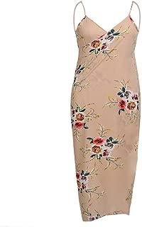 PEATAO Women Bikini Cover up, Spaghetti Strap Backless Floral Printed Long Maxi Beach Dress