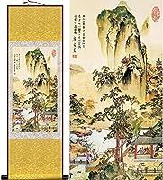 中国の巻物アート 中国のスクロール絵画壁画風水の装飾的なシルク絵画の壁の装飾ぶら下がっているアートの描画のためのキャンバスのためのキャンバスのためのキャンバスが家のオフィスレストランのための禅の装飾 家の装飾のために掛ける準備ができている風水絵画 (Color : 140*45cm)