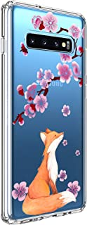 Ftonglogy Galaxy S10 Plus case for Women Girls, Shock Clear TPU Back Cute Pink Cherry Blossoms Design Flower Animal Protective Phone Case Cover for Samsung Galaxy S10 Plus/S10+ (Lucky Fox)