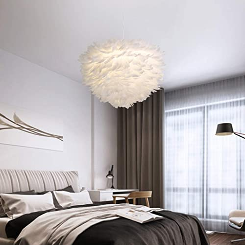 ZXF Lustre en plumes nordique créative personnalisé lampe de chambre de restaurant lampe de table de salle à hommeger rohommetique chaude (taille  40cm) Chaud (Taille   Dia 40cm)