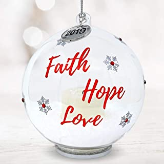 BANBERRY DESIGNS 2019 Year Dated Glass Ball Ornament - Faith Hope Love Design - LED Light Up Bulb with Snowflakes and Jewels - 4 Inch Diam