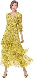 Womens Dresses Yellow Floral Maxi Dress V Neck High Waist Chiffon Beach Summer Party Casual Long Dresses