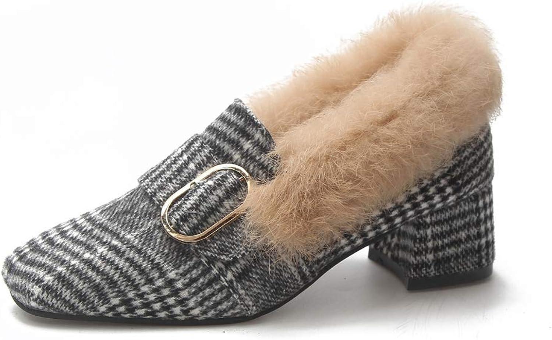 Kyle Walsh Pa Women Fur Loafers Medium Heels Pumps Rabbit Fur Slip on shoes Woman Casual shoes Plaid Ladies shoes
