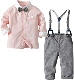 Baby Boys Gentleman Bowtie Suits Formal Long Sleeve Overall Set