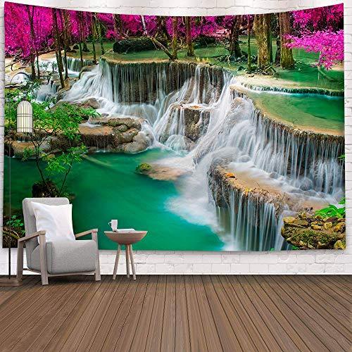 WERT Tapiz de Pared Grande con diseño Hermoso de Bosque Natural, Tapiz de Pared Bohemio, Tapiz de Pared con Mandala, Tapiz de Pared A26 150x200cm
