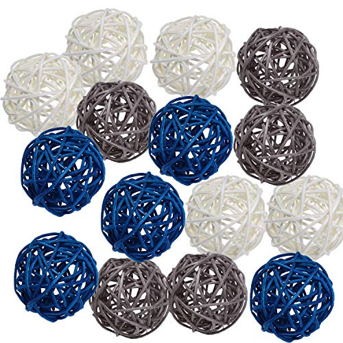Pemalin 15pcs Big Wicker Rattan Balls -Mixed 3 Colors Decorative Balls for Bowls, Vase Filler, Coffee Table Decor, Wedding Party Centerpieces Confetti