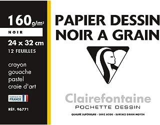 Clairefontaine 96771C - Pochette Dessin Scolaire - 12 Feuilles Papier Dessin à Grain Noir - 24x32 cm 160g - Idéal pour les...