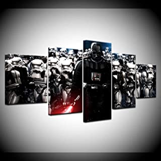 ZHFFYY Bedroom Decor Wall Decor 5 Large Panel HD Printed Canvas Painting Stormtroopers Room Movie Poster Home Decor Wall Art Image for Living Room