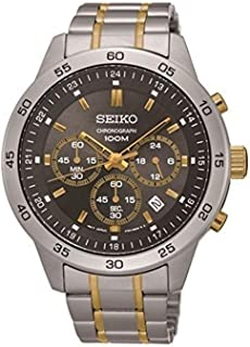 Seiko Chronograph Black Dial Stainless Steel Men's Watch SKS525