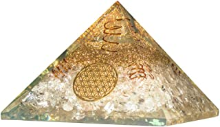 Crocon Clear Quartz Orgone Pyramid with 4 Copper Spring & Flower of Life Symbol for Chakra Balancing Crystal Energy Generator Reiki Healing Cleansing EMF Protection Spiritual Decor Size: 2.5-3 Inch