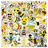 50pcs Lovely Cute Honey bee Stickers for Water Bottles Laptop Hydroflasks Phone Skateboard Crown Bee Insect Bugs Bumble Bee Funny Vinyl Sticker Waterproof Aesthetic Decals for Teens Boys Adults