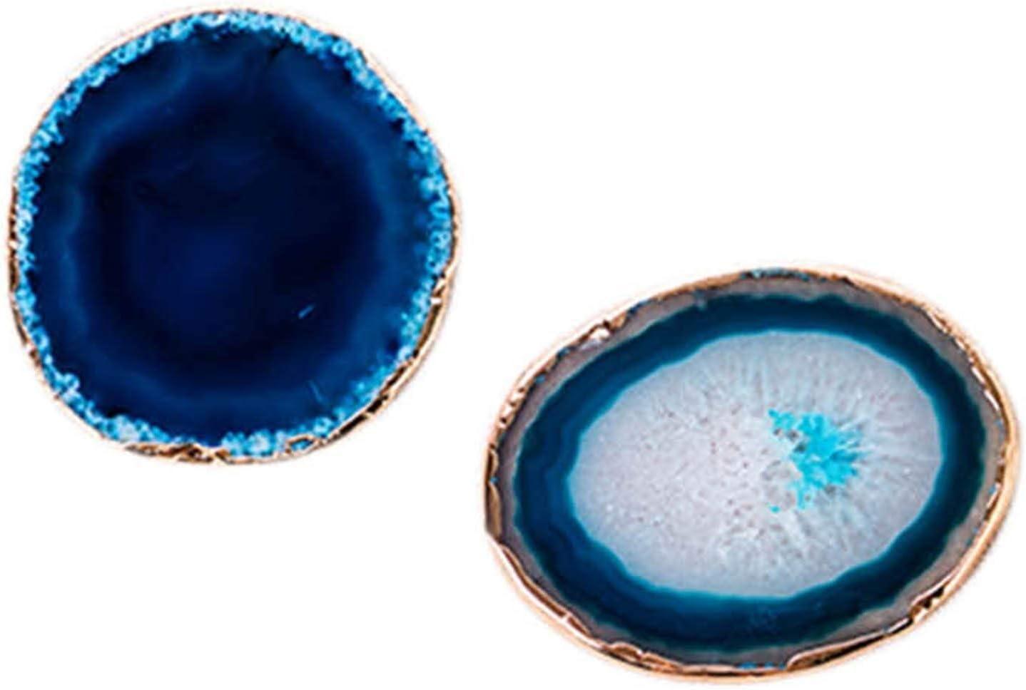 Yadianna 2Pcs Agate Slice Blue Teacup Tray Coaster Latest item Online limited product Decorat