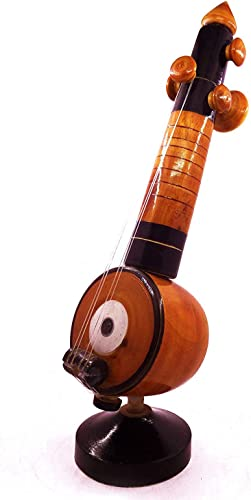 Ukerala Eco Friendly Wooden Veena Handicrafts Home Decor Miniature Musical Instruments showpieces 7 cm x 7 cm x 23 cm Brown