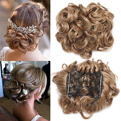 TESS Haargummi Haarteil Dutt Synthetik Haare für Haarknoten Zopf Gummiband Hochsteckfrisuren Haarband Hellbraun/Mittelblond