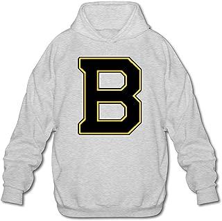 Mens Sportswear Drawstring Hooded Sweatshirt,B Logo Unique Ash