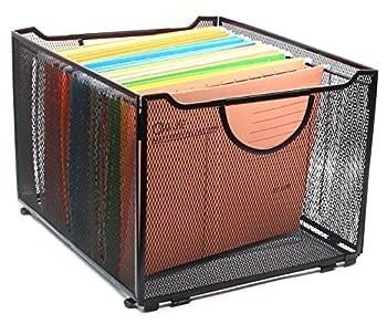 EasyPAG Office Folder Holder Organizer Foldable Mesh File Box Storage Crate Black