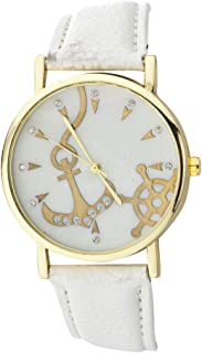 Lux Accessories White Gold Tone Nautical Anchor and Ship Wheel Watch Face Watch
