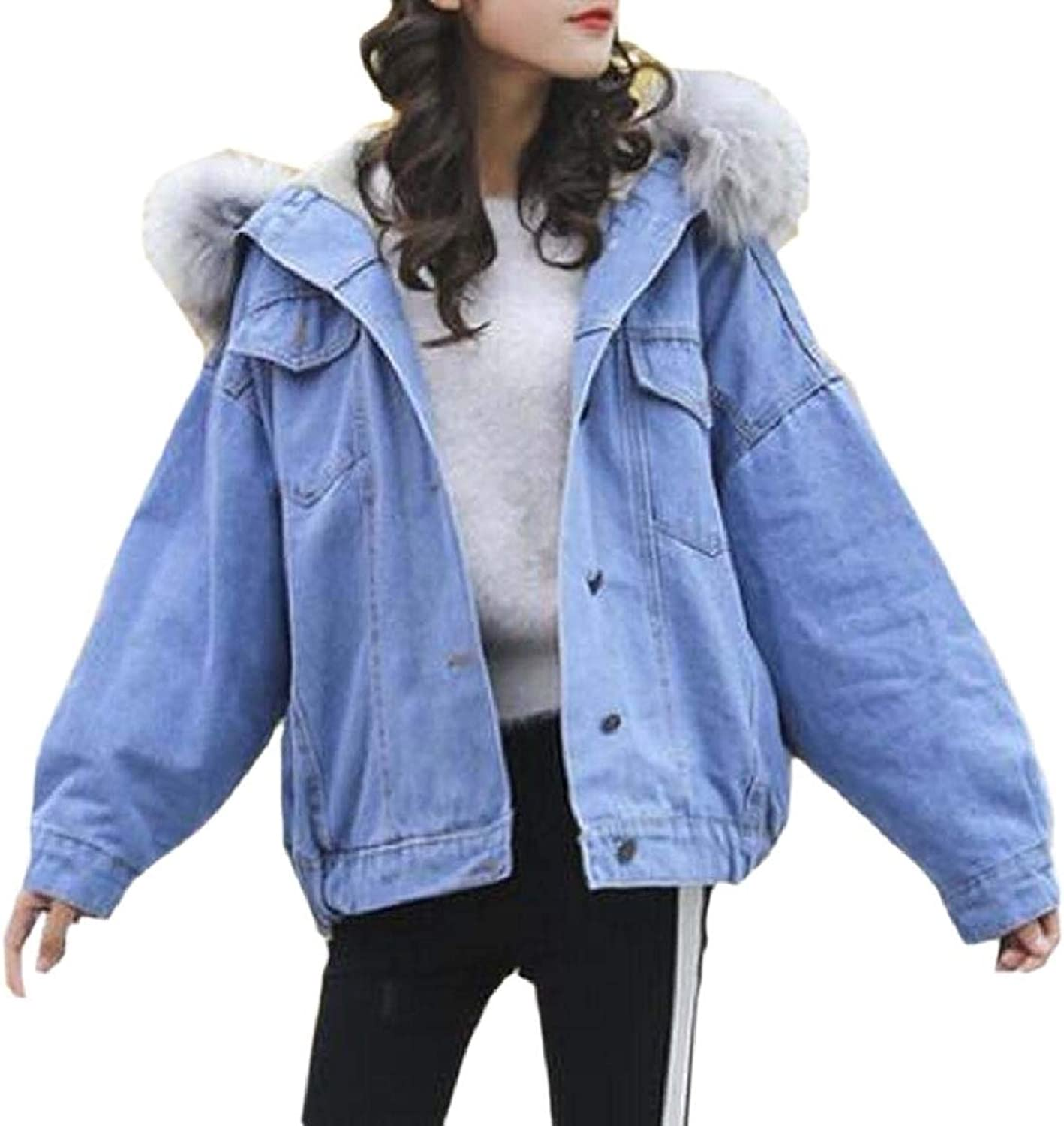 LEISHOP Women Warm Jeans Long Sleeve Button Denim Faux Fur Jacket