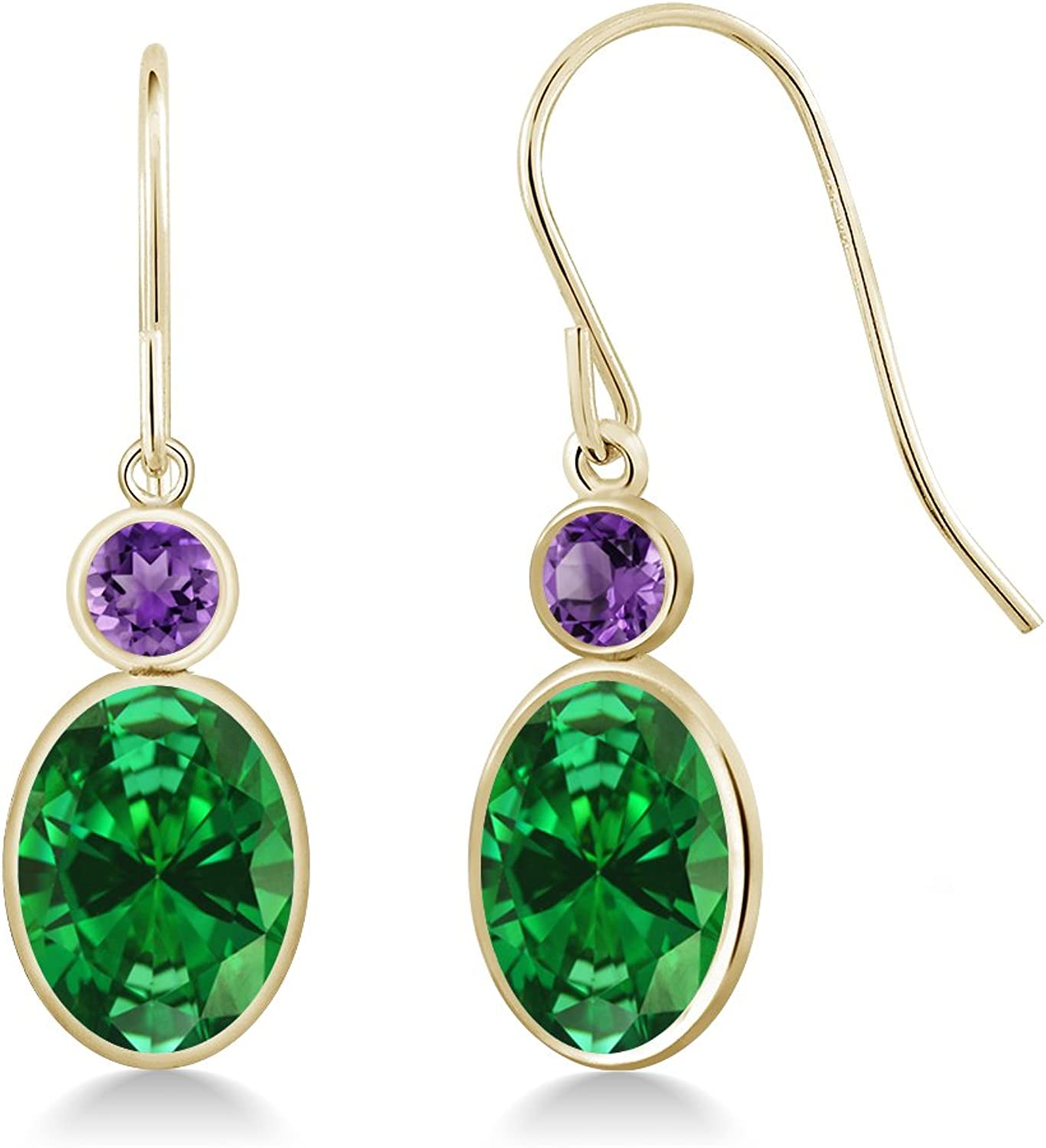 4.40 Ct Oval Green Simulated Emerald Purple Amethyst 14K Yellow gold Earrings