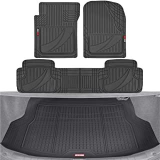 Motor Trend FlexTough Advanced Black Rubber Car Floor Mats with Cargo Liner Full Set –..