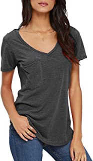 Women's Summer Casual Sexy Short Sleeve V Neck Patch Pocket Slub Texture Tee Loose Top Tshirt