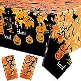 Mantel De Halloween Plástico,2 Piezas Mantel de Halloween,230 x 140 cm Mantel de Halloween de Calabaza,Mantel Halloween Decoración de Fiesta de Halloween Mantel (Amarillo)