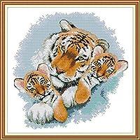 クロスステッチ大人、初心者11ctプレプリントパターンかわいい虎40x50cm -DIYスタンプ済み刺繍ツールキットホームの装飾手芸い贈り物40x50cm(フレームがない )