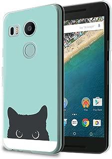 HelloGiftify Nexus 5X Case, Tiffany Blue&Cat TPU Soft Gel Protective Case for Nexus 5X