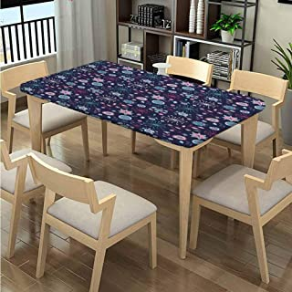 LQQBSTORAGE Elastic Edge Outdoor Picnics, Pansy Bluebell Dandelion Pattern Printing, Elastic on The Corner Fabric Print Tablecloth Fits Rectangular Tables:72