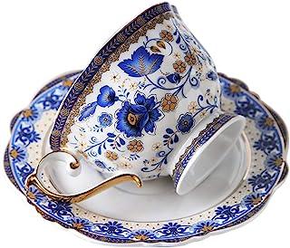 fanquare Vintage Tasse à Café en Porcelaine Fine Motif Fleurs Bleues, Ensemble de Tasse avec Soucoupe en Porcelaine, 200 ml