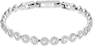 Swarovski Authentic Crystal Angelic Rhodium Plated Stunningly Elegant White Bangle Bracelet
