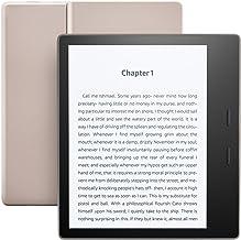 "Kindle Oasis E-Reader - شامپاین طلا، 7 ""صفحه نمایش با وضوح بالا (300 پیکسل)، ضد آب، ساخته شده در قابل شنیدن، 32 گیگابایت، Wi-Fi - با ارائه ویژه"