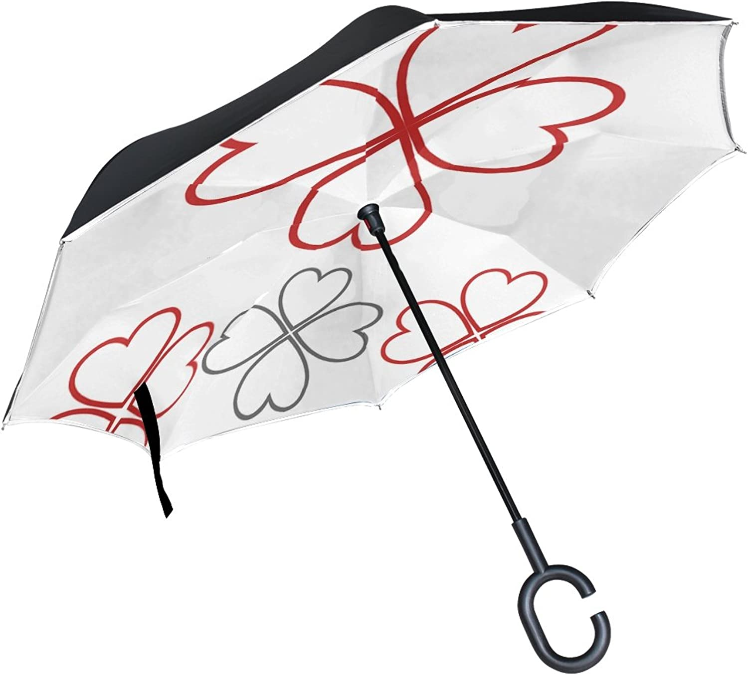 Double Layer Ingreened Happiness Logo Vector Icon Fortune Template Umbrellas Reverse Folding Umbrella Windproof Uv Predection Big Straight Umbrella for Car Rain Outdoor with CShaped Handle