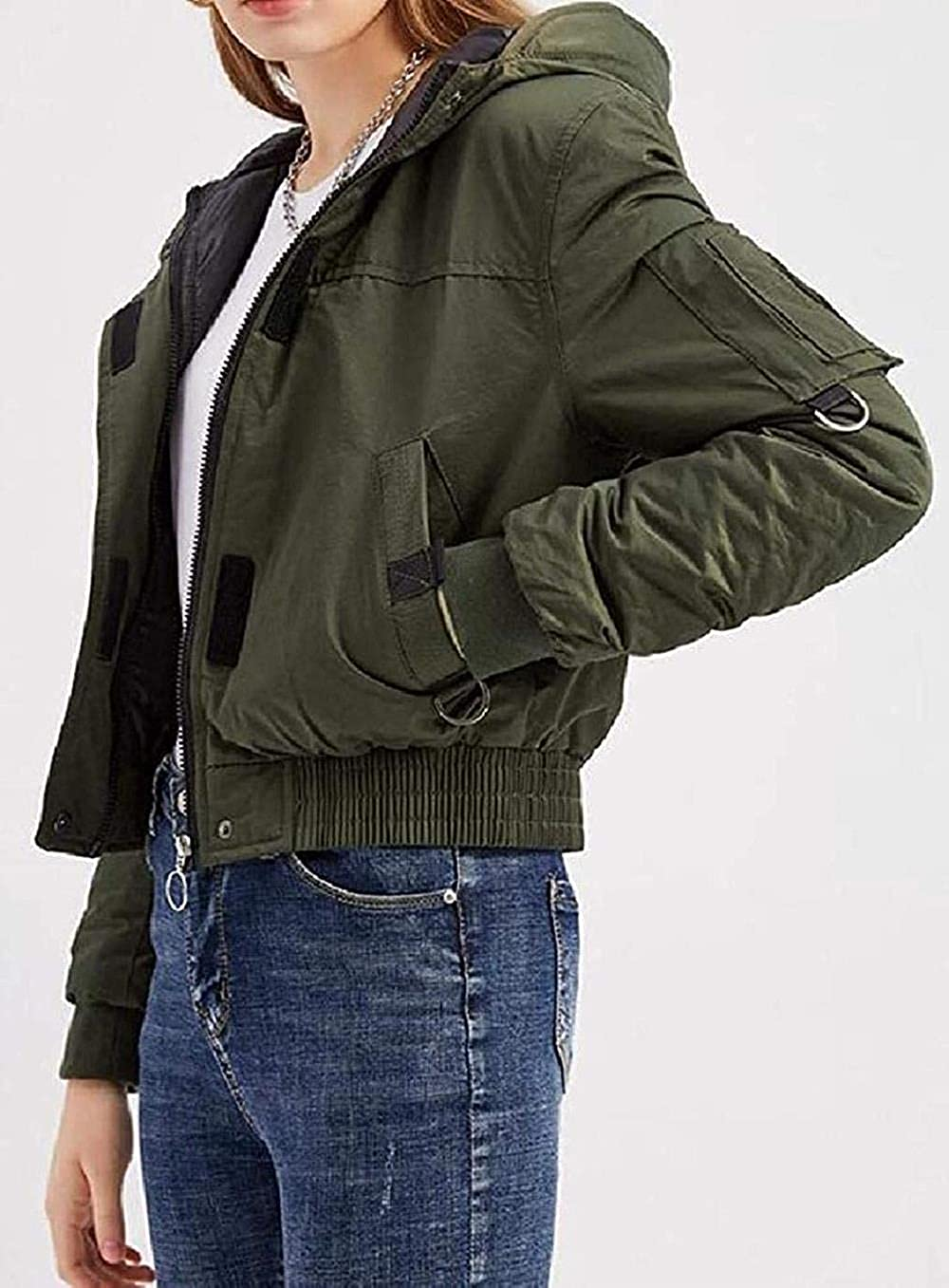 Women Plain Military Cotton-Padded Autumn Winter Hoodie Down Quilted Jacket Coat Outerwear