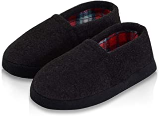 LA PLAGE Boys Winter Warm Cozy Plush Indoor Slip-on Slippers with Hard Sole for Kid
