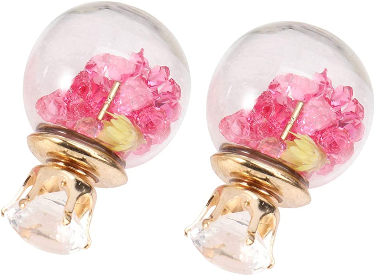 Happyyami 1 Pair Japanese Earring Dried Flower Floral Earrings Ear Studs Crystal Ball Ear Jewelry