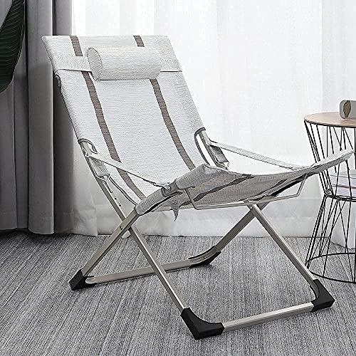 N&G Accesorios para Sala de Estar Silla reclinable Silla de salón Plegable Zero Gravity Sillas de terraza de Gran tamaño para jardín Patio al Aire Libre tumbonas Cama reclinable con Almohada para la