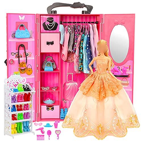 Miunana Kleiderschrank 73 Puppen Kleidung Zubehör 1 Schrank 1 Schuhschrank 16 Kleider 55 Zubehör Schuhe Kleiderbügel Halsketten Kronen Tasche Accessoires für 11,5 Zoll Puppen