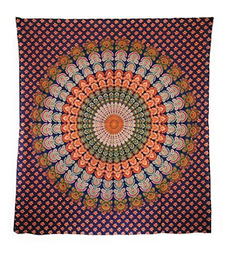 Aga's Own Indische Mandala Tagesdecke, Wandtuch, Tagesdecke Mandala Druck - 100prozent Baumwolle, 210x240 cm, Bettüberwurf, Sofa Überwurf (Muster 01)