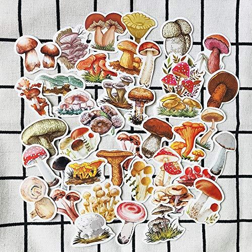 KATTERS Pegatinas decorativas de hongos pequeños pintadas a mano, para álbumes de recortes, álbum de recortes, Happy Plan, 40 unidades