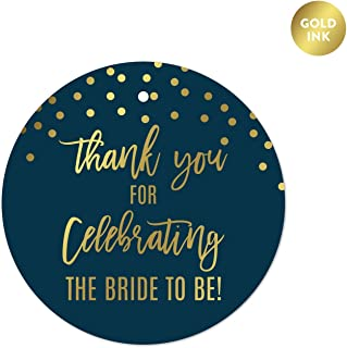 Andaz Press Navy Blue and Metallic Gold Confetti Polka Dots Bachelorette Party Bridal Shower Collection, Round Circle Gift Tags, Thank You for Celebrating The Bride to Be, 24-Pack