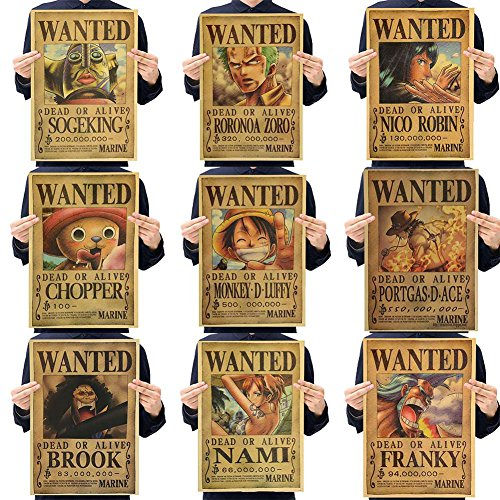Skisneostype One Piece Wanted Posters Affiche de Papier Kraft de Pâte de Bois Rétro Luffy Choba, Nouvelle édition(H11-9PCS)
