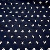 Stoff Baumwollstoff Baumwolle Sterne marine weiß groß