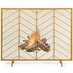 cheap Tangkula fireplace screen, modern free-standing chevron partition with durable forgings …