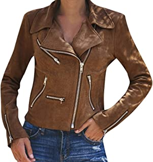 haoricu Ladies Up Leather Outwear Women's Plus Size Faux Suede Motorcycle Jacket Bomber Jacket