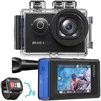 AKASO Brave 6 Plus Native 4K30FPS 20MP WiFi Action Camera with Touch Screen EIS 8X Zoom Voice Control Remote Control 131 Feet Underwater Camera with 2X 1350mAh Batteries and Helmet Accessories Kit