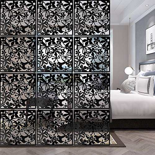 ANMINY 12 PCS Hanging Room Divider Flower Carving Pattern Panels Decorative Wall Screen Panel Hollow...