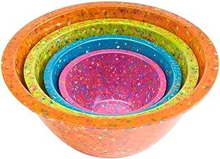 Zak Designs 1454-7005 Confetti Mixing Bowl Set, 4-Piece, Assorted - Orange